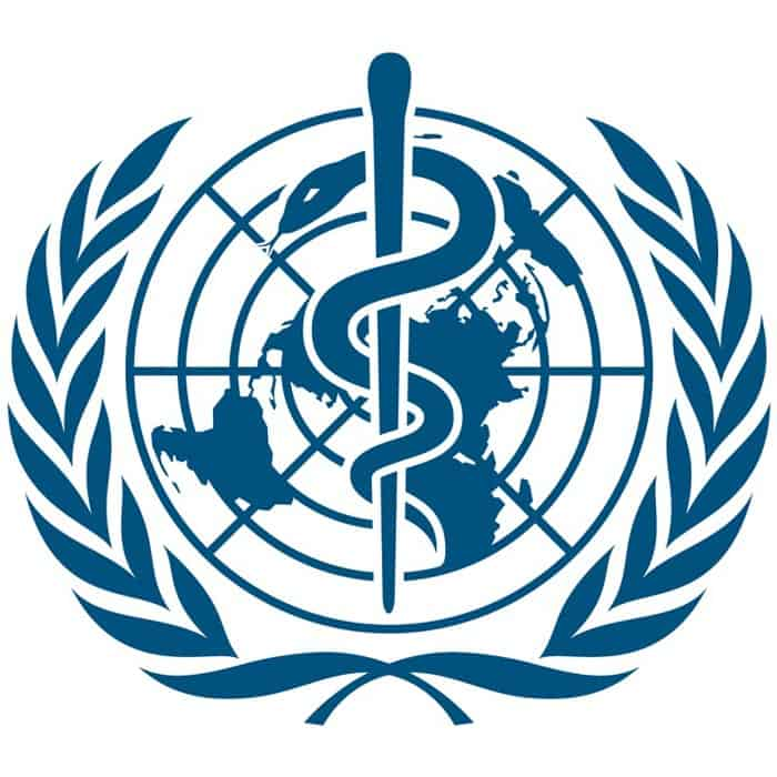 World Health Organization Logo. The WHO approved CBD Isolate