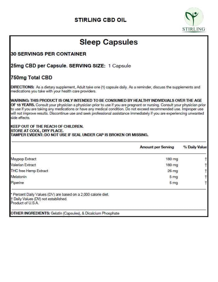CBD Sleep Capsules Data Sheet with list of ingredients, including Melatonin & Maypop