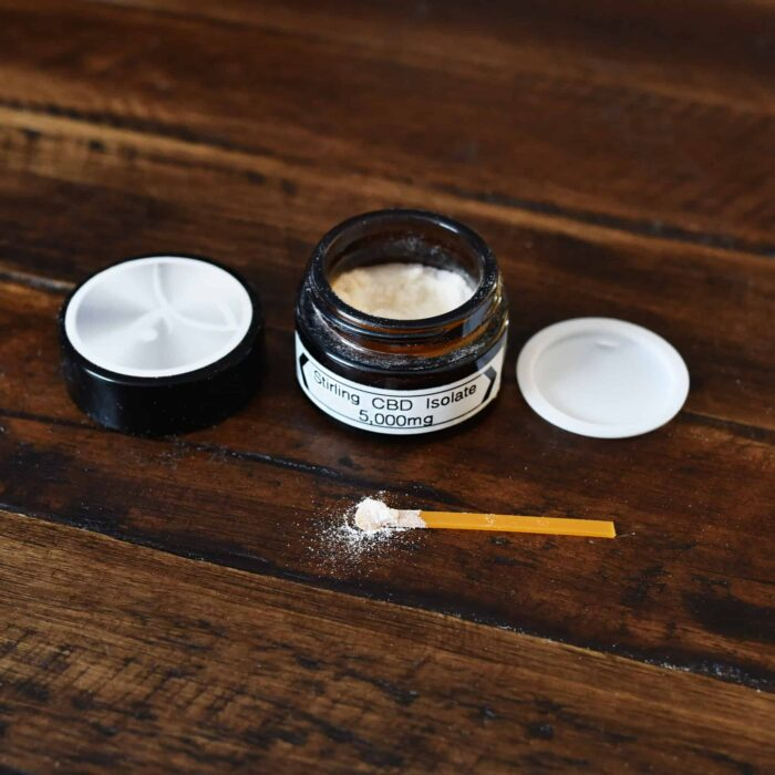 Pure CBD Isolate on a Table. Best CBD you can buy