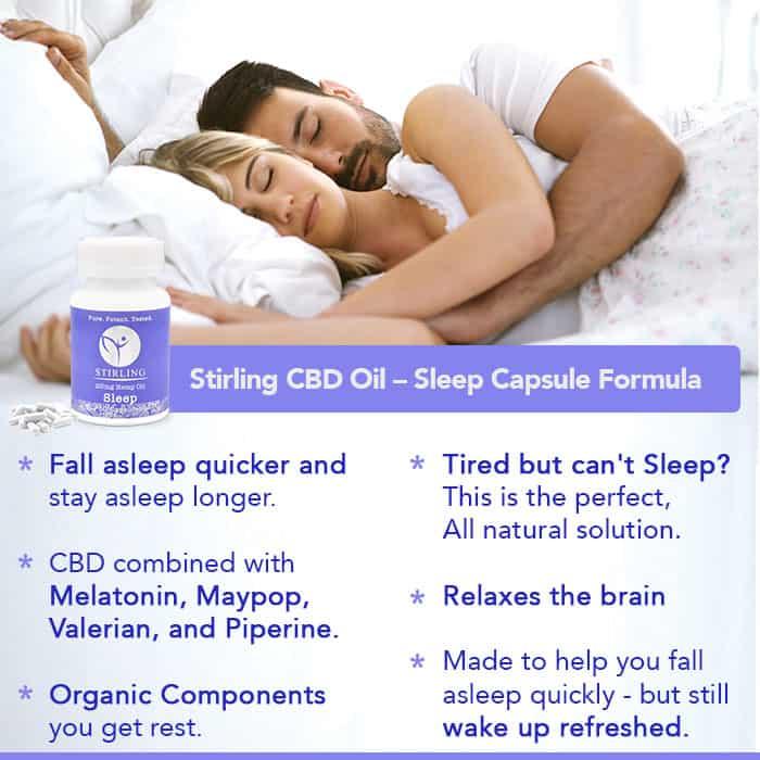 CBD for Sleep. Stirling CBD Capsules helps you fall asleep and stay asleep